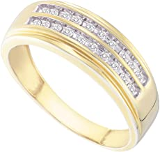GemApex Mens Round Diamond Wedding Band Solid 14k Yellow Gold Anniversary Ring Two Row Channel Set Fancy 1/4 ctw