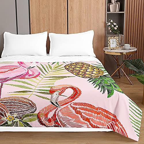 Colcha de Verano Cubrecama Colcha Bouti, Chickwin 3D Flamenco Impresión Ligero Edredón Manta de Dormitorio Suave Multiuso Colchas para Cama Individual Matrimonio (Piña Flamenco,100x150cm)