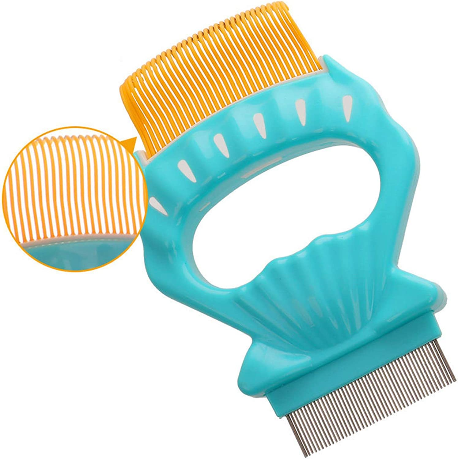 Pet Grooming Comb with Soft Teeth for ShortHaired Kitten Detachable Shell Massage Rake, Green