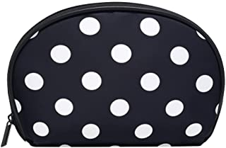 ALAZA Black and White Polka Dot Half Moon Cosmetic Makeup Toiletry Bag Pouch Travel Handy Purse Organizer Bag for Women Girls
