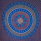 MOMOMUS Tapiz Mandala Étnico - 100% Algodón, Grande, Multiuso - Pareo/Toalla de Playa Gigante - Cubre Sofá/Cama - Telas para Decoración de Pared - 210x230 cm, Azul
