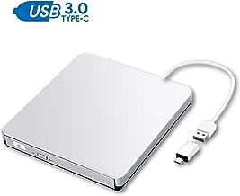ZSMJ External DVD Drive, USB 3.0 Portable CD DVD +/-RW Burner Slim DVD/CD Writer Player High Speed Data Transfer Optical Drive for MacBook Air, MacBook Pro, Mac OS, PC Laptop (Sliver)