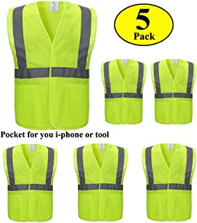 Construction Vest with Pockets,5 Pack,Reflective Safety Vest with Sliver Stripe,Made from Breathable Neon Mesh Fabric,High Visibility Safety Vest with ANSI Class 2 by CIMC(2XL)