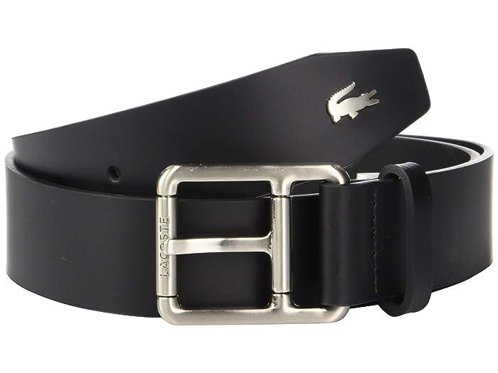 Lacoste Buckle Belt w/ Croc Detailing (Black) Men