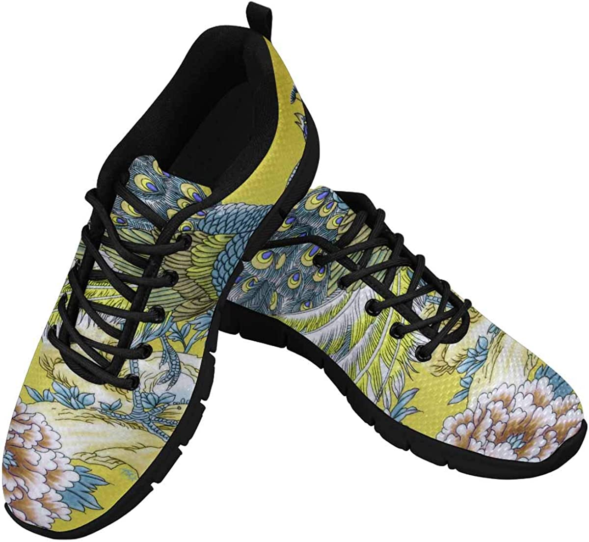 InterestPrint Beautiful Florals Peacock Women Walking Shoes Comfortable Lightweight Work Casual Travel Sneakers