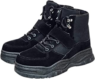 XFentech Men's Winter Warm Snow Boots - Thicken Fully Fur Lined Lace-up Sneaker Shoes