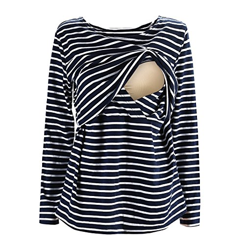 UTOVME Mujeres Camiseta de Lactancia Premamá Camisa de Maternidad Ropa de Enfermería, Rayado de Mangas Largas Azul L