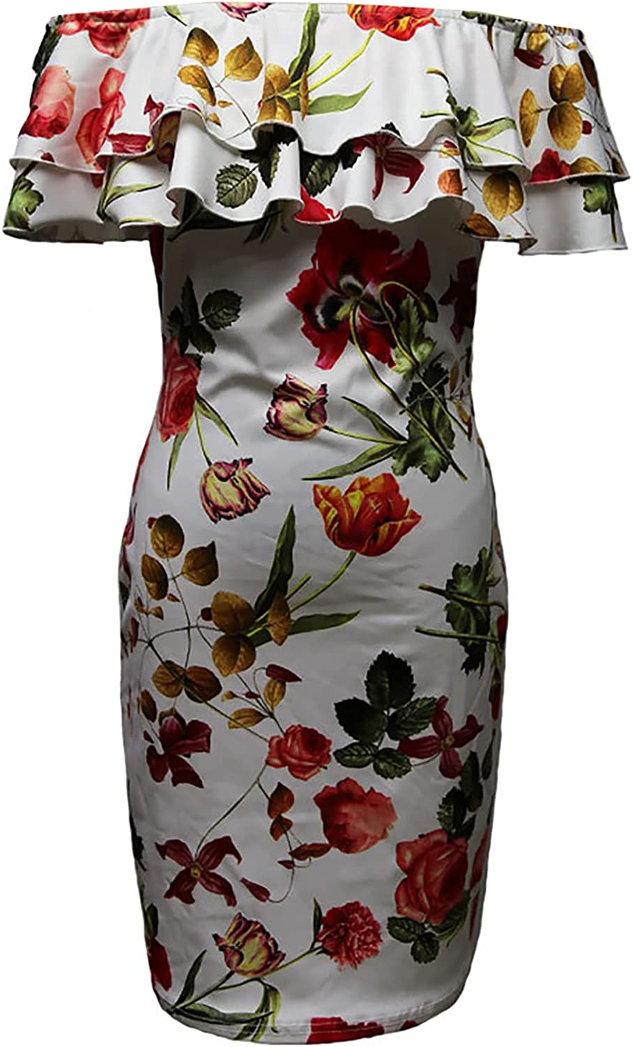 OYUEGE Dresses for Women Floral A Line Knee-Long Deep Neck Sweet Slim Dress Sexy and Beautiful