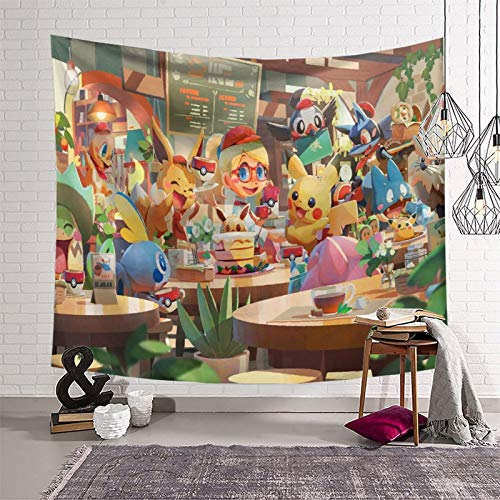 SSKJTC Tapiz para sala de estar Pokémon Manga Animación Universitaria Dormitorio Accesorios Tapices 180 x 230 cm