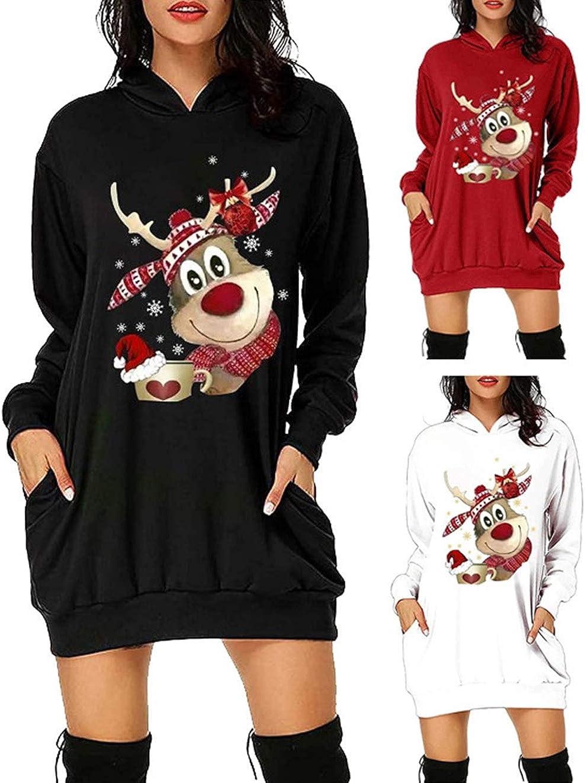 Felpe Natale 3D Alce di Natale Pullover Autunno Inverno Renna Stampa Moda Casual Sciolto a Manica Lunga con Pocket Felpa Sweatshirt per Adulto Bambini Maglione Natalizio Donna Lungo