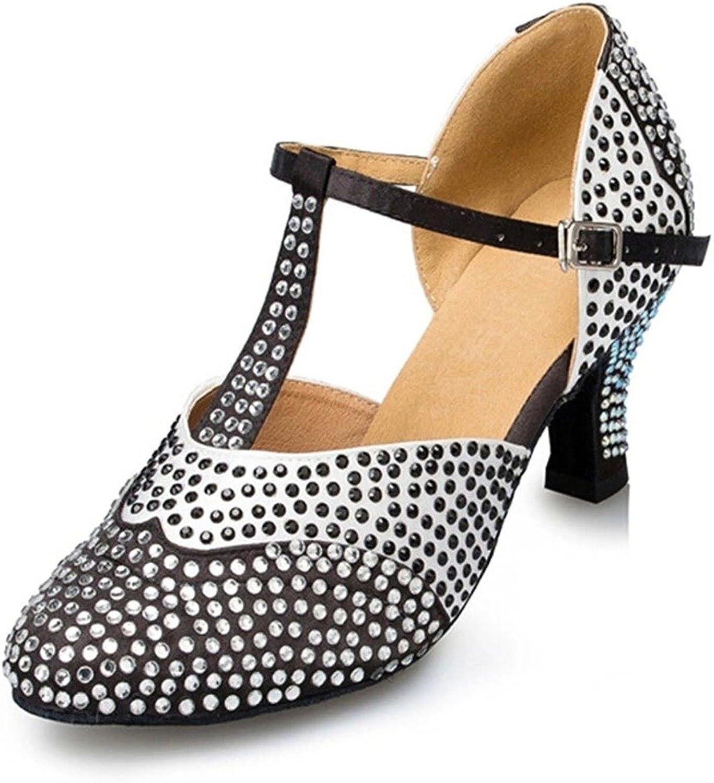 Monie Women's Luxurious Jewel Practice Modern Salsa Ballroom Latin Dance shoes 2.4  Flare Heel