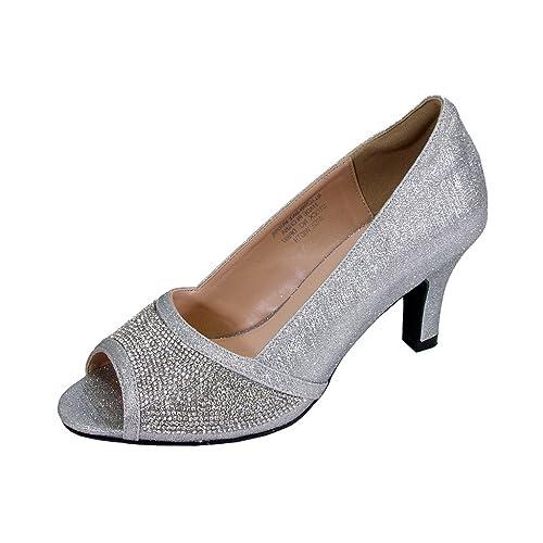 89e2ec758b3 Floral Noemi Women Wide Width Open-Toe Rhinestone Slip-On Party Heeled Dress  Pumps