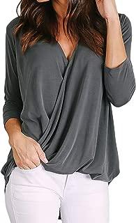 BTFBM Women V-Neck Wrap Front Irregular Twist Hem 3/4 Sleeve Solid Casual Loose Lightweight Shirts Blouses Tunic Tops