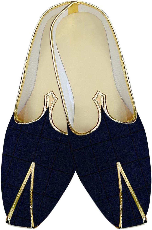INMONARCH Mens Navy bluee Checks Wedding shoes MJ015726