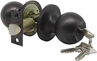 Probrico Keyed Ball Door Knobs Entry Door Knob Oil Rubbed Bronze Finish (1Pack)