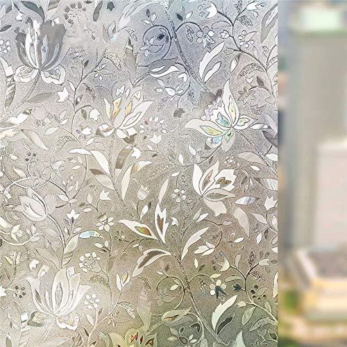 N / A 3D Lasertulpe statische Fenster Privatsphäre Film Glas Aufkleber matt Schlafzimmer Schlafzimmer Tür Anti-Ultraviolett Wohnkultur Film A9050x200cm