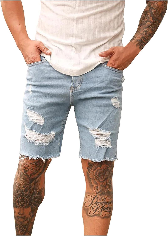 Men's Denim Shorts Frayed Raw Hem Knee Length Jeans Shorts 2021 Summer Fashion Slim Fit Casual Short Pants - Limsea
