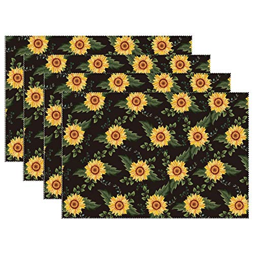 Yilooom Set of 6 Heat Resistant Stain Insulation Place Mats Anti-Skid Washable Canvas Table Placemats 12 X 18 Inch, Sunflower Pattern