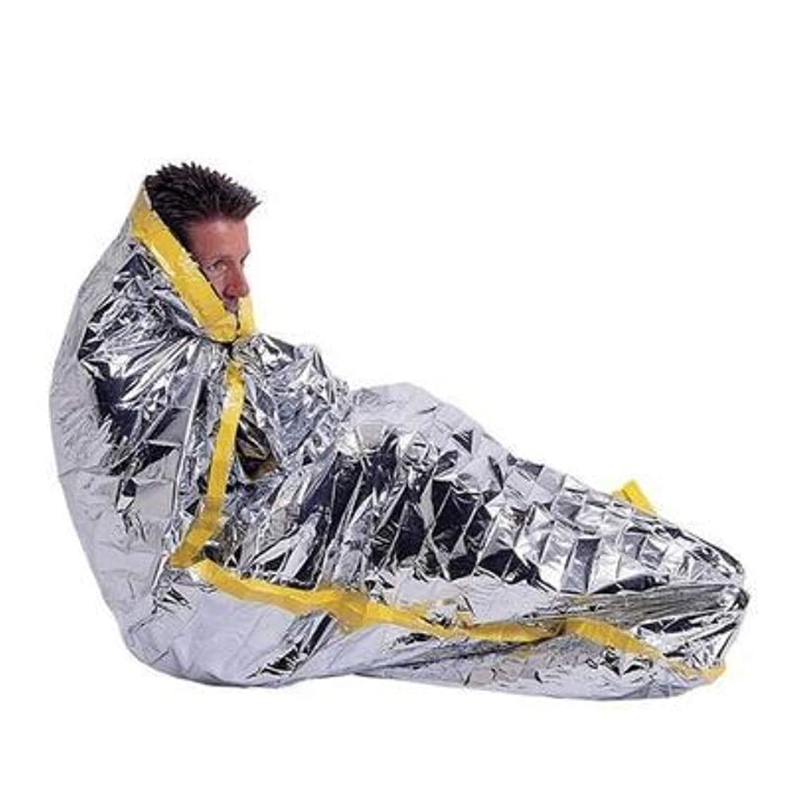 ペフぺディカブテレマコスYuuming 2個セット 緊急 寝袋タイプ アルミ保温シート サバイバルレスキュー 防寒 防災 断熱 震災 地震 津波 対策 緊急 非常用 200*100cm (寝袋-2枚)