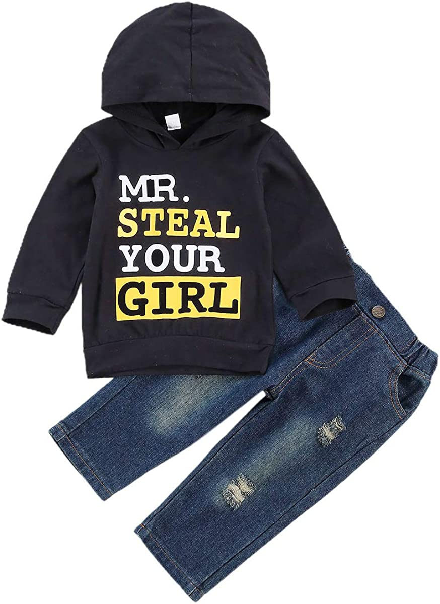 Toddler Baby Boys Hoodie Outfits Letter Print Sweater Mr Steal Your Girl Tops Pants Fall Winter Clothes Set
