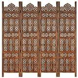vidaXL Madera Mango Biombo 4 Paneles Tallado a Mano Divisor Pantallas Separador Dormitorio Salón Oficina Despacho Sala de Estar Decoración Marrón