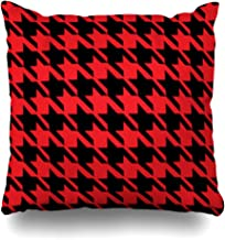 ArtsDecor Throw Pillow Covers Black Houndstooth Red Pattern Plaid Weaving Checkerboard Border Tartan Check Retro Home Decor Cushion Square Size 16