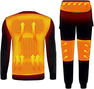 ZFLYLPA Electric Heating Thermal Underwear Set USB Heated Underwear for Men Winter Warm Fleece Lining Long Sleeve Top and ...