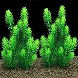 BYYX Plantas de acuario grandes de plástico artificial para peces, decoración de plantas, adorno seguro para todos los peces, 26 cm (verde)