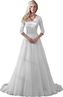 MILANO BRIDE Modest Wedding Dress for Bride V-Neck Sleeves Organza Floral  Lace 32d508bb36f0