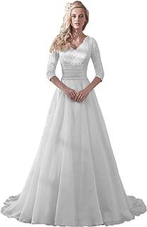 Modest Wedding Dress for Bride V-Neck Sleeves Organza Floral Lace