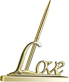 Toyvian Wedding Signing Pen with Gold Plated Metal Love Holder Party Pen Set (Golden)