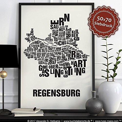 Regensburg Buchstabenort Schwarz auf Naturweiß