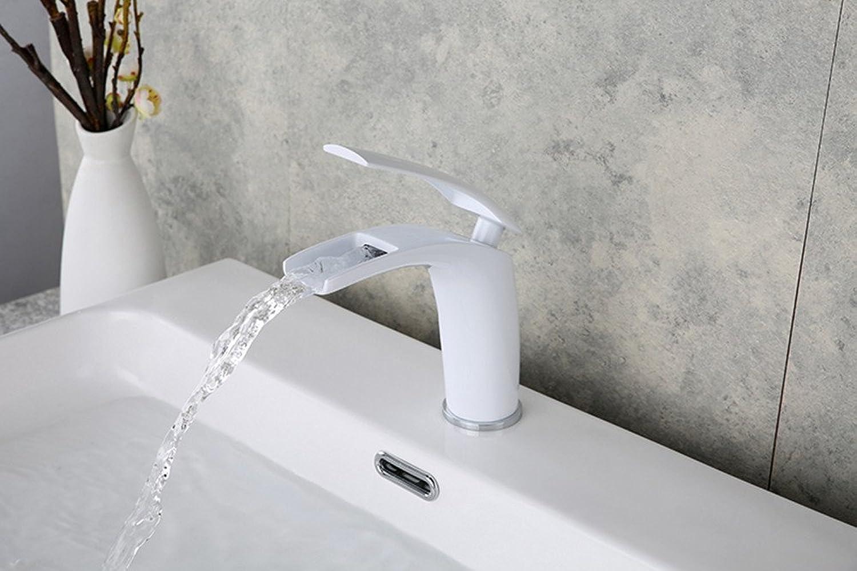 LHbox Bad Armatur in Bad für Waschbecken Waschtisch Wasserhahn Waschtischarmatur Das Kupfer mit Warmen und Kalten Becken abgesenkt Wasserfall Armatur Waschtisch Armatur,