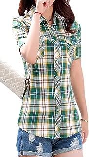 Abetteric Women's Short Sleeve Classics Plaid Oversize Button Down Shirt