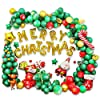 メリークリスマス バルーン ガーランドキット 203ピース グリーン レッド ゴールド 葉 星 紙吹雪バルーン サンタクロース マイラーバルーン 一連のバルーンツール付き クリスマスパーティーデコレーション 新年のデコレーションに