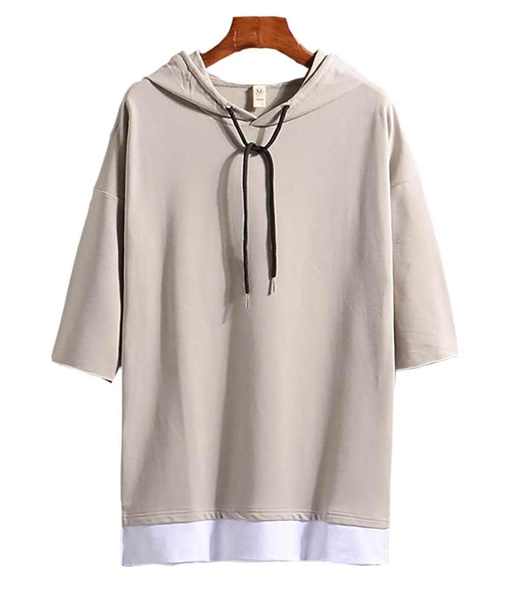 解読するクラシカル世紀(Make 2 Be) メンズ 7分袖 Tシャツ フード付き ゆったり ドロップショルダー レイヤード カジュアル シャツ プルオーバー MF74
