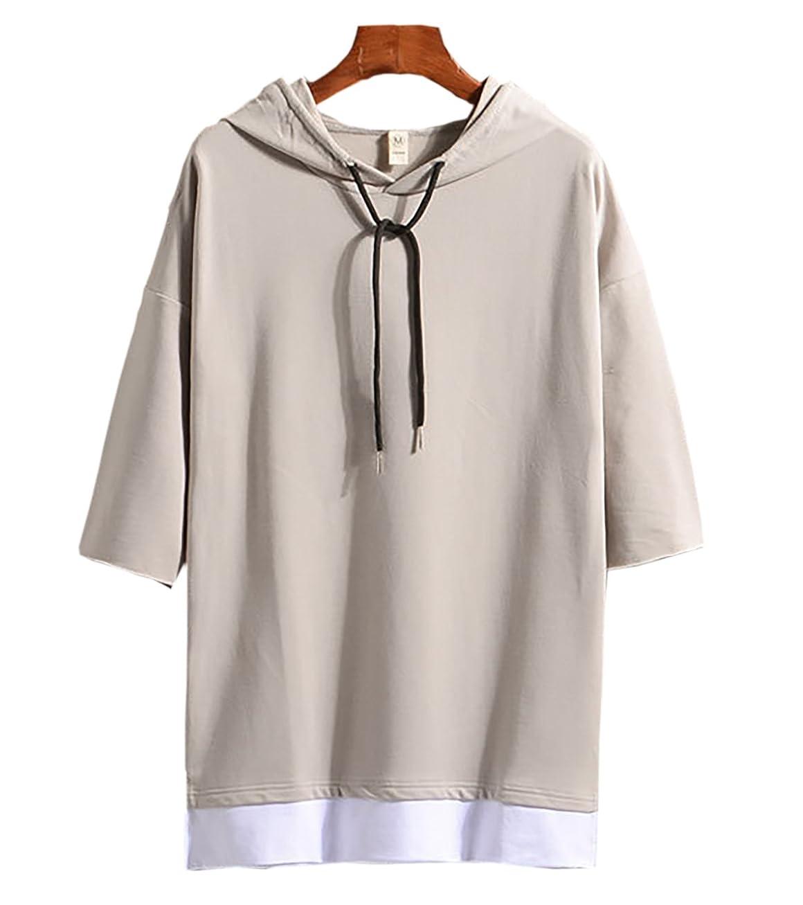 反論ツイン爆発(Make 2 Be) メンズ 7分袖 Tシャツ フード付き ゆったり ドロップショルダー レイヤード カジュアル シャツ プルオーバー MF74