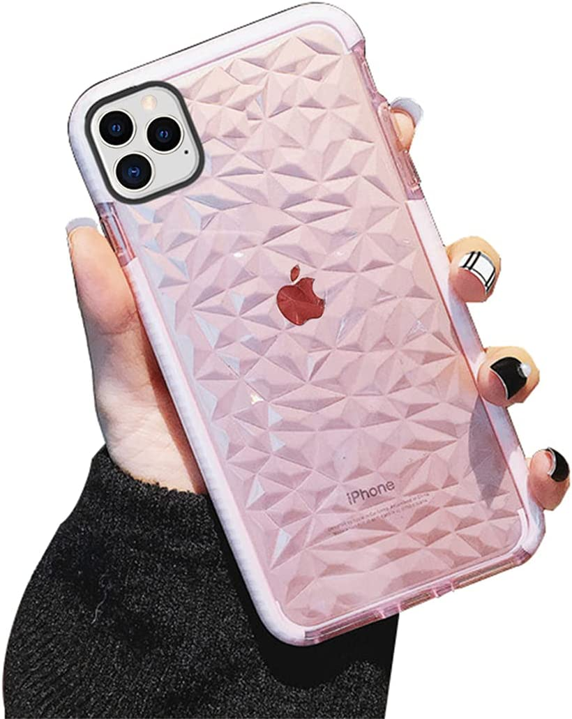 KUMTZO Compatible iPhone 11 Pro Case, Crystal Clear Slim Diamond Pattern Soft TPU Anti-Scratch Shockproof Protective Cover for Women Girls Men Boys with iPhone 11 Pro 5.8 inch - Pink