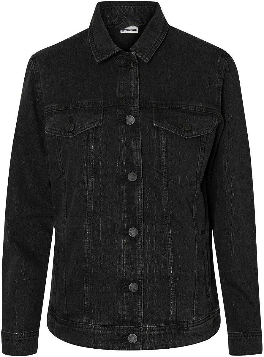Noisy Max 59% OFF May Womens Black Denim Jacket Sacramento Mall Casual Classic