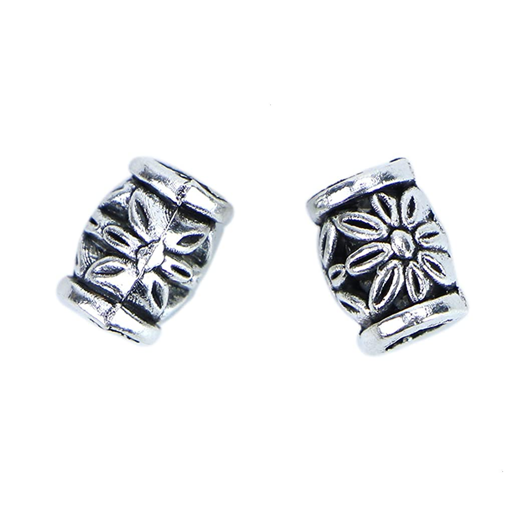 Monrocco Antique Silver Large Hole Barrel Flower Loose Spacer Beads European Charm Beads for Bracelets Jewelry Making egpxkfnb75201