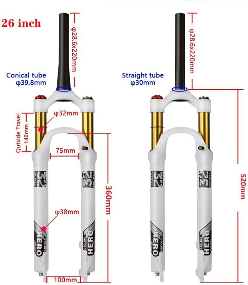 BESTSL MTB Fahrrad Federgabel 26 27,5 29 Zoll Air Suspension Fork Luftgabel aus Aluminiumlegierung Federweg 120 mm 9 mm QR PM Scheibenbremse,Straight Hand,26