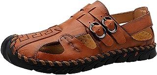 GBZLFH Sandales en Cuir pour Hommes, Chaussures D'extérieur À La Main pour Hommes À Bout Fermé en Été, Chaussures De Sport...