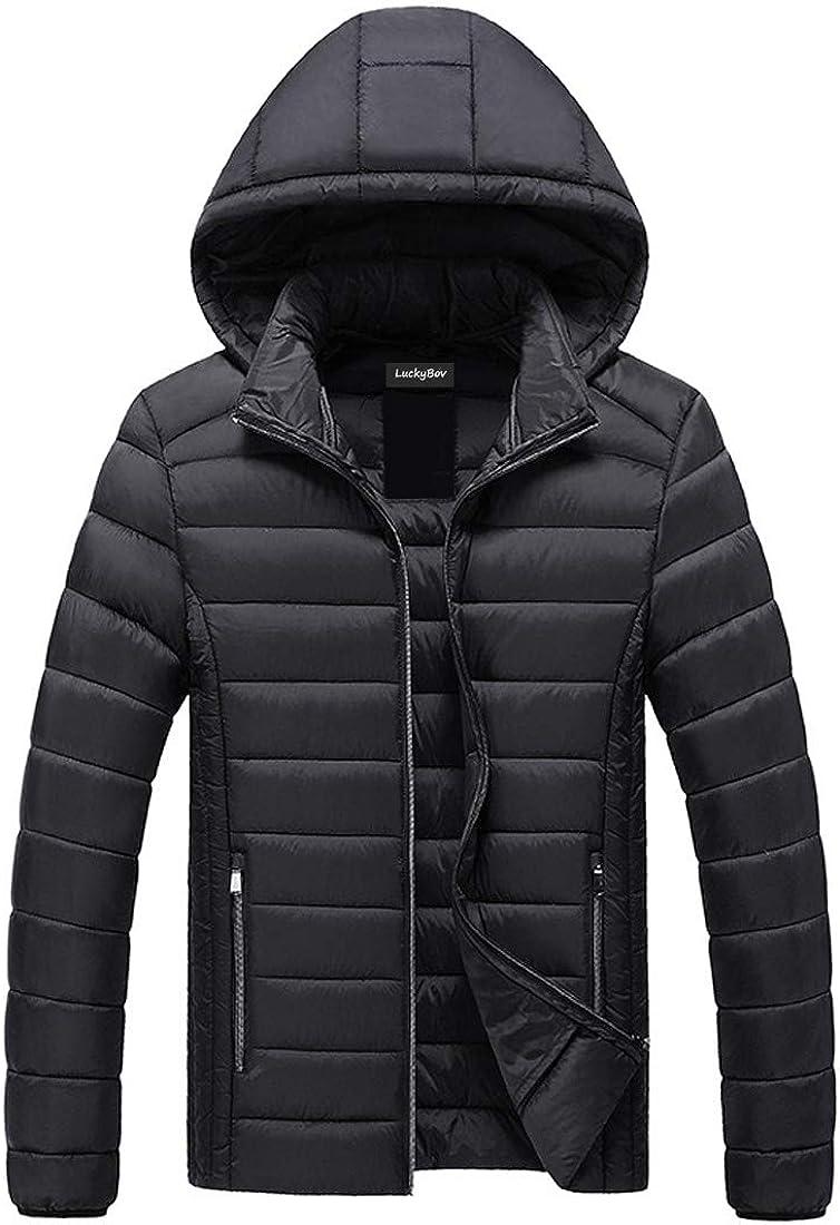 LuckyBov Men Lightweight Quilted Puffer Coat Packable Zipper Winter Hooded Jacket