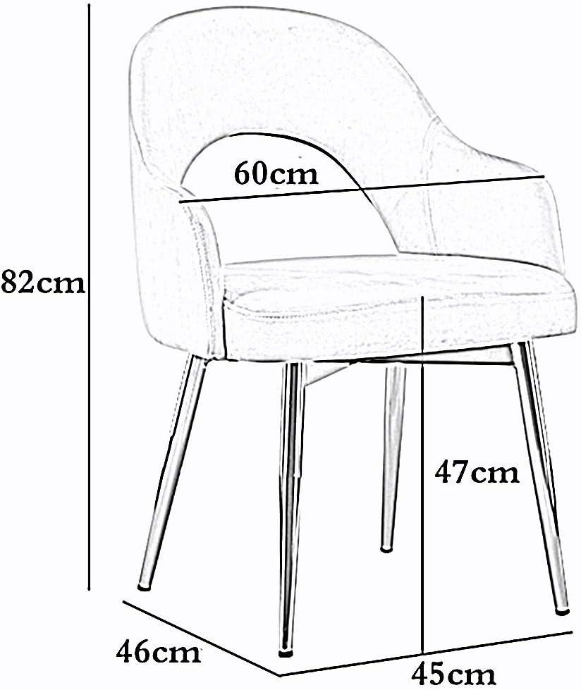 LJFYXZ Chaises Salle Manger Retour Velvet Living Dos Creux Mobilier de Bureau Moderne Fauteuil de Salon Pieds en métal plaqué Or Chaise de Table à Manger (Color : Pink) Gray