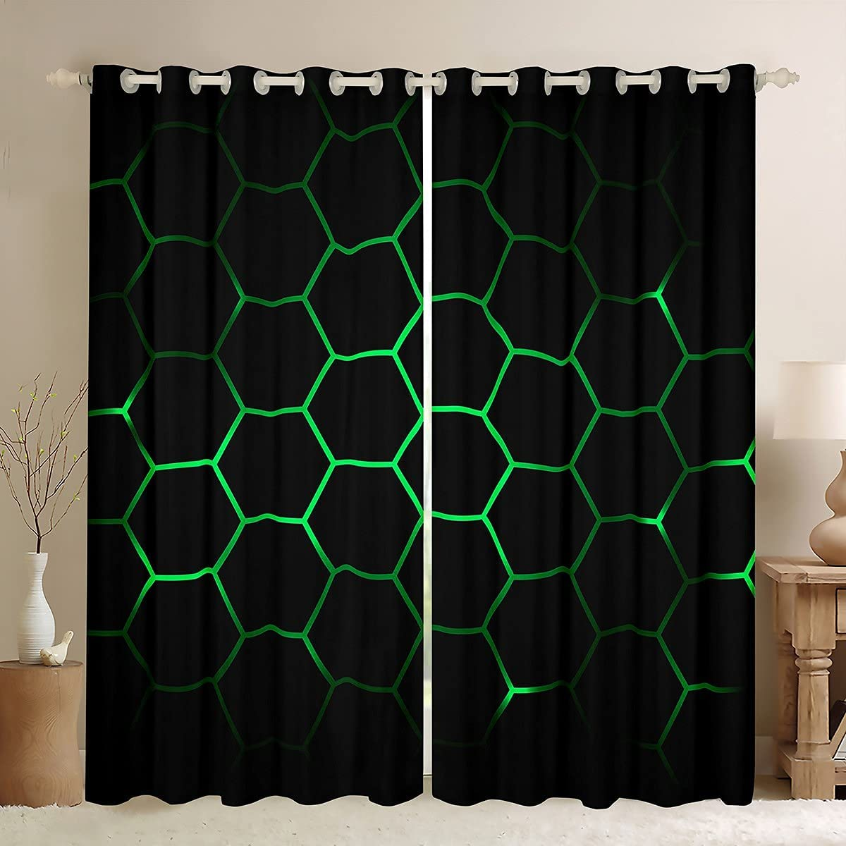 Hexagonal Window Curtains for Bedroom H Recommended Living Al sold out. 3D Geometric Room