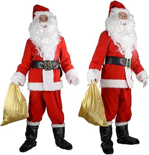 GSDZN - Mens Santa Claus, Weißnachtsmann,Santa Claus Kostüm, Weißnachten, Verdicken, Warm Halten, 10-teiliges Kostümoutfit Mit Bart, Perücke, L-2XL,XL