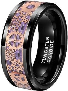 8mm Silver/Black Tungsten Rings for Men Women Wedding...