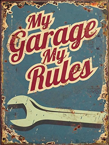 BigBazza Novelty Retro Vintage Wall tin Plaque 20x15cm - Ideal for Pub shed Bar Office Man Cave Home Bedroom Dining Room Kitchen Gift - My Garage My Rules Quote Tools Workshop - Decorative Sign