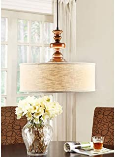 Modern Farmhouse Chandelier for Dining Rooms, Kitchens and Breakfast Nooks | Drum Light Fixture is Adjustable in Height | Made of Wood and Fabric This Rustic Pendant Lamp Provides Warm Ample Lighting