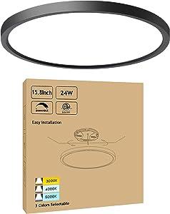 15.8Inch Black Dimmable LED Ceiling Light Flush Mount 24W 3000K-4000K-5000K Selectable - Ultra Thin Modern LED Surface Mount Ceiling Light for Kitchen Dining Room Bedroom, 1 Pack
